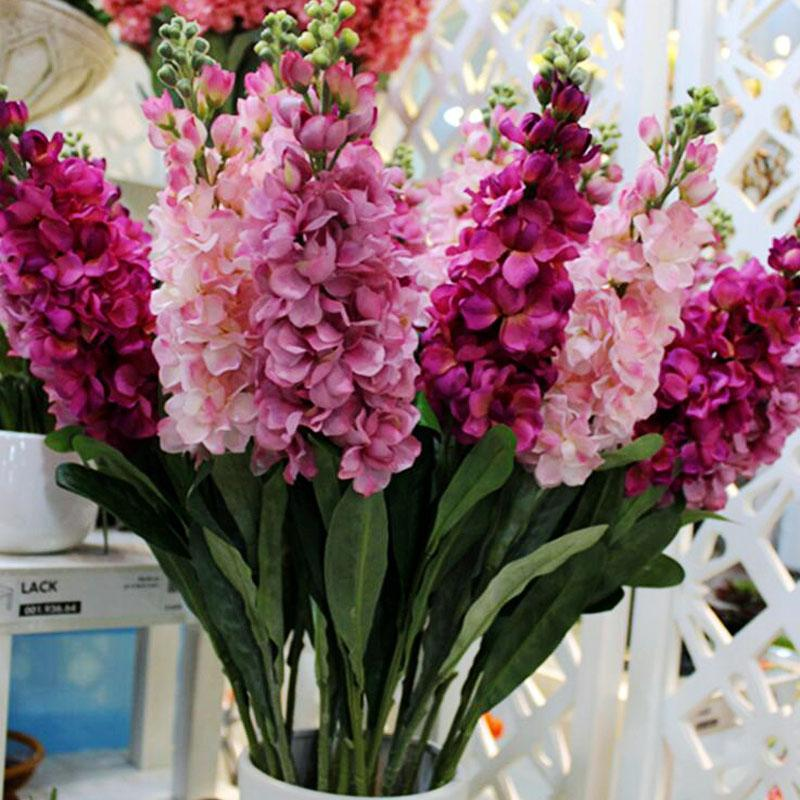 Hot Vivid Autumn Artificial Flowers Fake Delphinium Flower With Leaf