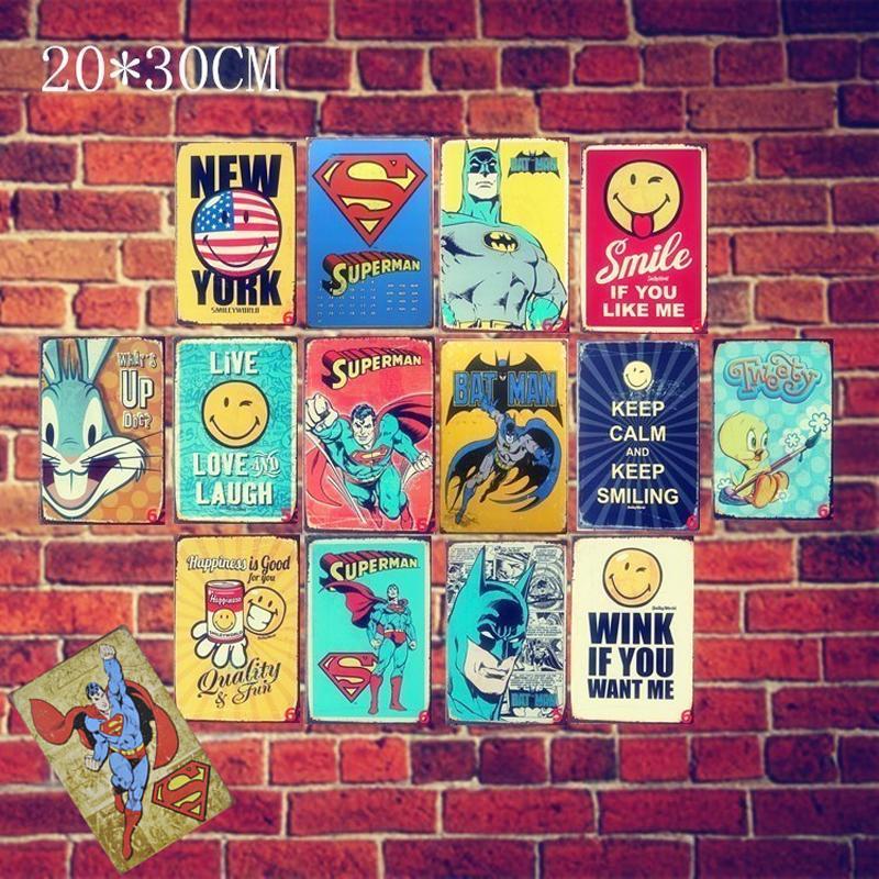 23 Estilos Marvel Film Super Heroes Vintage Decoración para el hogar Cartel de chapa Bar Pub Letrero de metal decorativo Retro Placa de metal Pintura Placa de metal