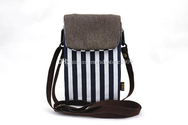 Cute Strip Girls Messenger Wallets Lovely Leather Belt Fabrics Phone Bag Coin Bag Double Layer Kids Bag