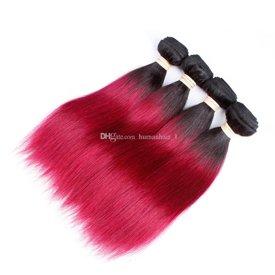 Brazilian Virgin Hair Silk Straight Red Ombre Hair Bundles Two Tone Black To Red Human Hair Bundles Double Weft