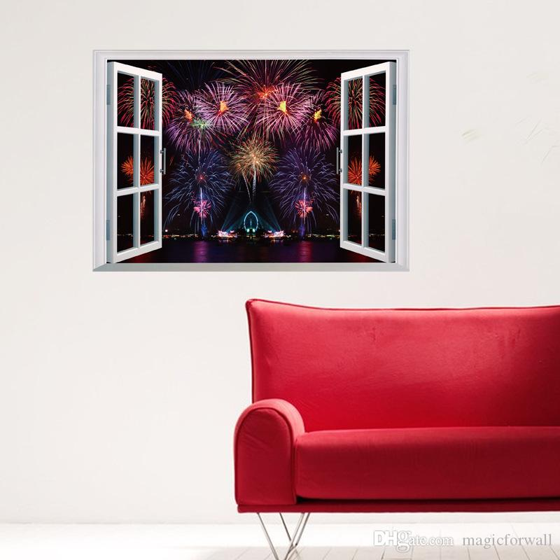 Firework Display Scenery Window View Wall Stickers Living Room - Wall decals in living room