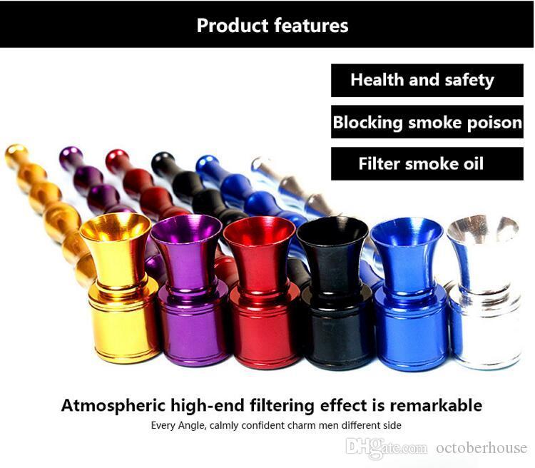 알루미늄 대나무 조인트 금속 담배 흡연 파이프 담배 홀더 핸드 필터 파이프 도구 액세서리 13cm 길이 6 색