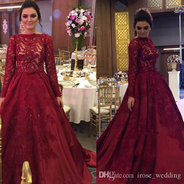 Luxury Burgundy Lace Muslim Evening Dresses A Line Jewel Neckline ...