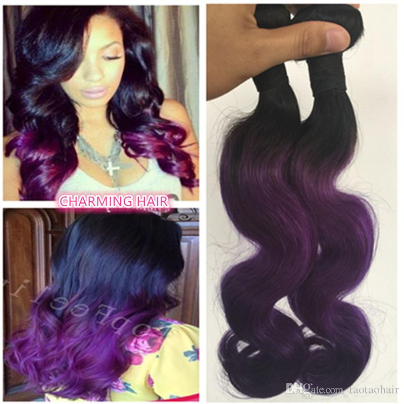 Cheap brazilian ombre purple hair extensions body wave two tone see larger image pmusecretfo Images