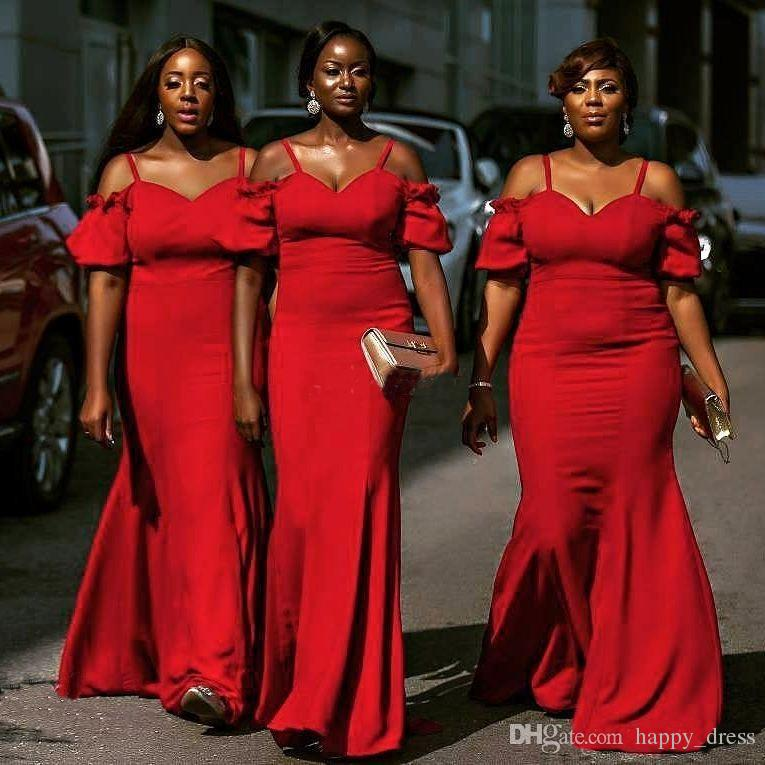 African Red Plus Size Bridesmaid Dresses 2017 Spaghetti Mermaid ...
