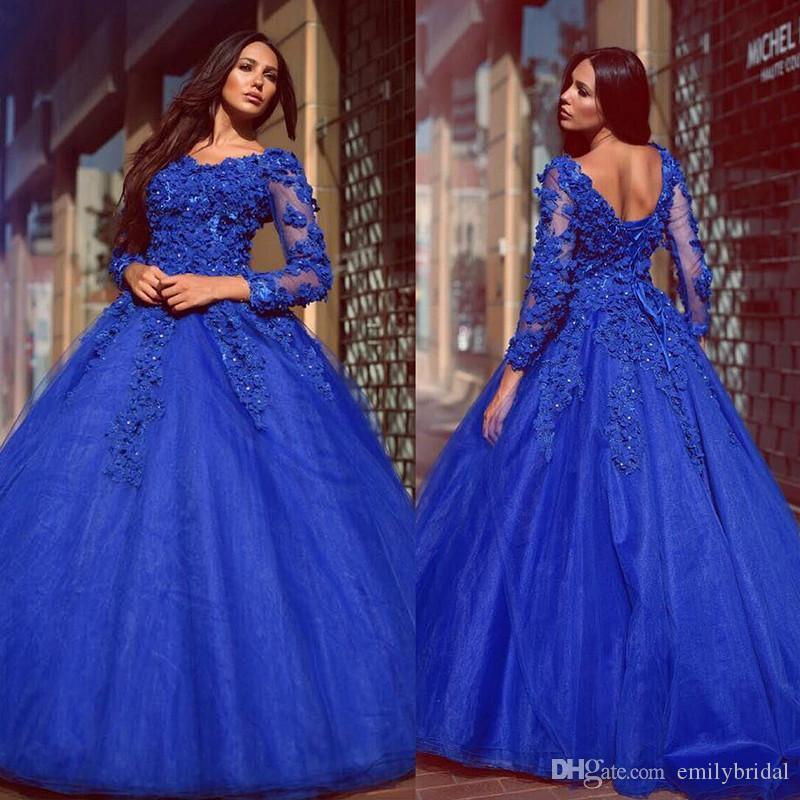 Plus Size Royal Blue Formal Dresses Evening Wear Flower Beaded Long ...