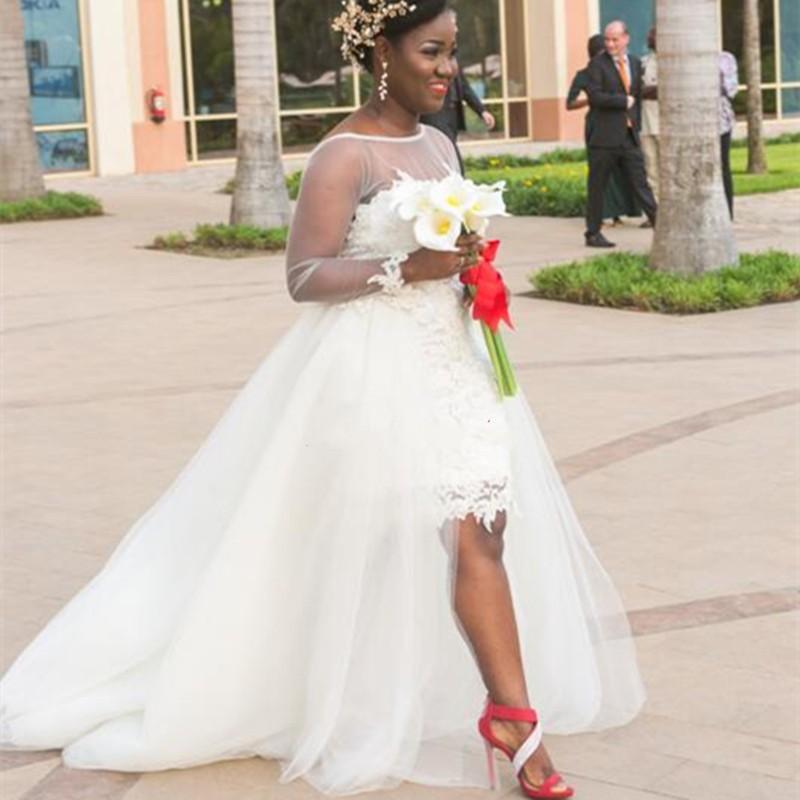 Plus la taille Sheer Neck robes de mariée Africain Blanc train détachable Robe de Marigae Manches Longues Custom made robes De Mariée 2016