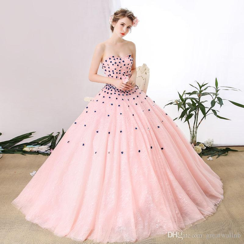630997b8a4 100%real light pink lace flower rhinestone bead queen gown medieval dress  Renaissance gown royal Victorian dress/princess cosplay Belle Ball