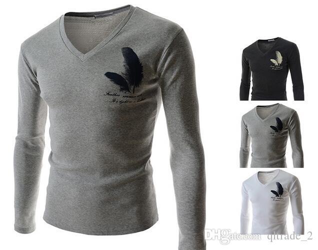 도매 남성의 2016 봄 신사복 - 긴팔 슬림 피트 T - 셔츠 깃털 프린트 티셔츠 바닥 셔츠