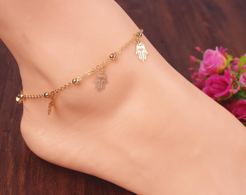 Hand Metal Ball Anklet Bracelet Jewelry Tiny Bell Pattern Foot Chain Link Hamsa Hand Necklace Hand of Fatima Pendant Amulet Evil Eye Jewelry