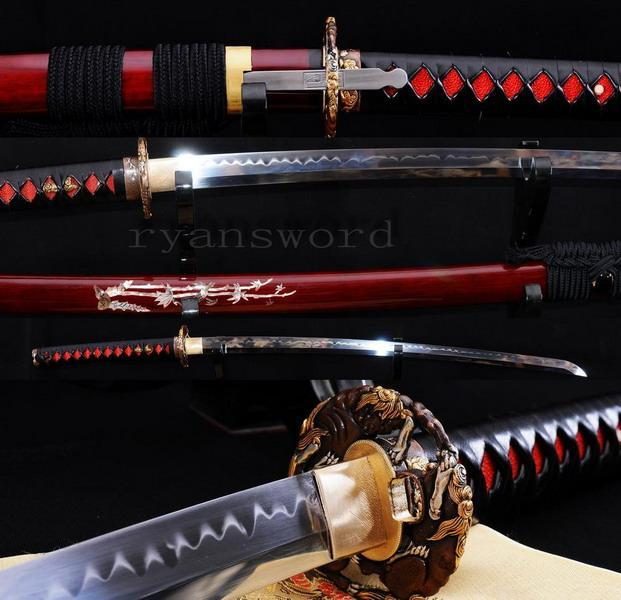 High Quality 1095 Carbon Steel Clay Tempered With Kozuka Japanese Samurai Katana Sword