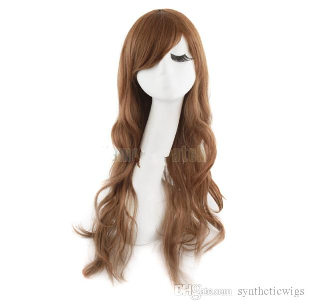 Woodfestival mulheres sexy meninas moda fibra sintética perucas longas onda grande onda completa 26 polegadas desgaste diário