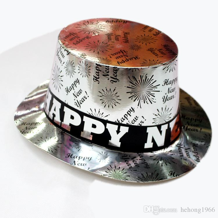 Paper Formal Hat Happy New Year Magic Dancing Cap Fireworks Pattern Birthday Party Hats Sliver Golden 3jb B R