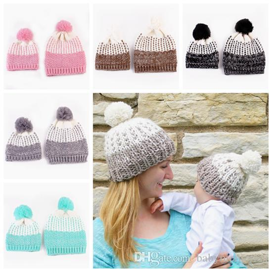 98217839cd0 2019 2016 Baby Crochet Beanie Hats Kids Winter Hat Knitted Hat Caps Family  Matching Daughter Mother Pompoms Cap Boy Girl Christmas Hats Wholesale From  ...