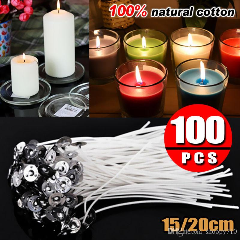 Candle Wicks Cotton Core Waxed Wick With Sustainer For Candle Making Low  Smoke And Natural Candle Wicks With Tabs Sustainers Cotton