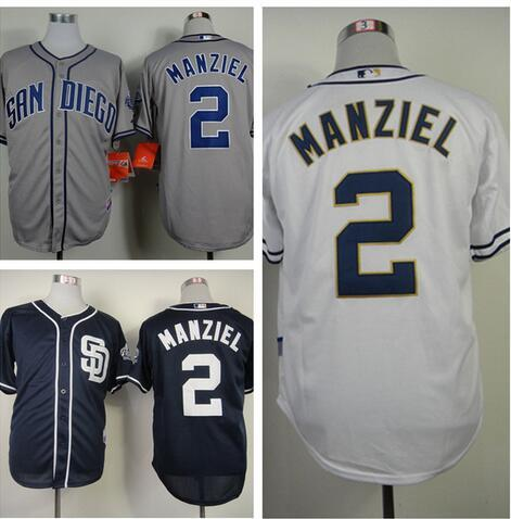 Best San Diego Padres Jersey 2 Johnny Manziel Baseball Jersey White Home  Gray Road Navy Blue ...
