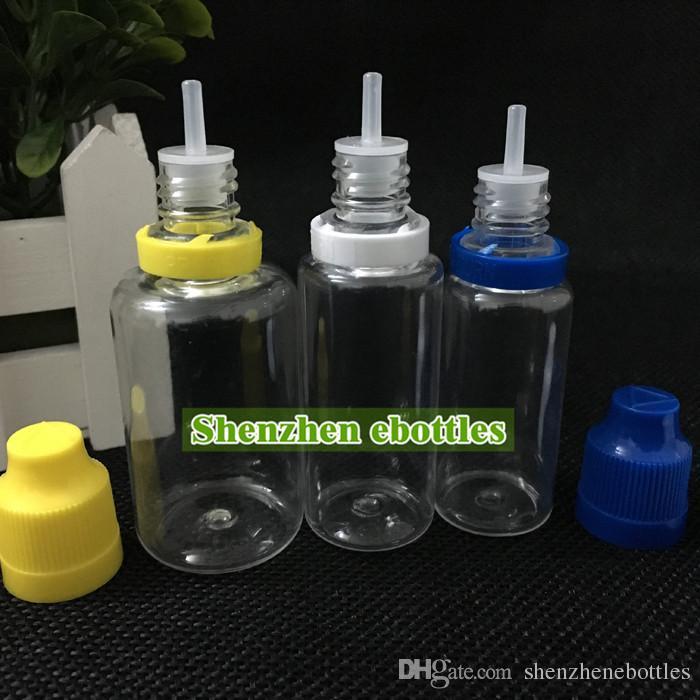 precio de fábrica de botellas de plástico 30ml botella vacía de la botella de PET de plástico con cuentagotas Consejos fina larga y de sabotaje prueba de niños de tapas de botellas de aguja