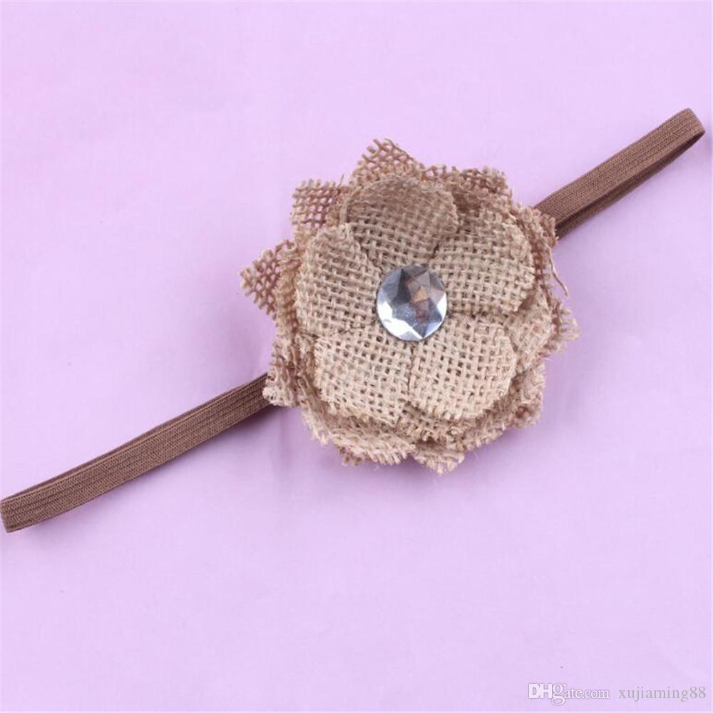 5 pezzi di lino fiore infantile fascia capelli caffè colore ragazza hairband copricapo bambini bambino puntelli fotografia newborn baby fasce capelli accessori