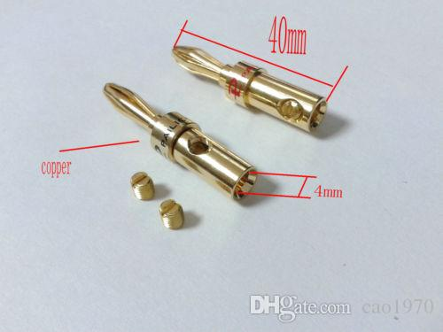Gold plated brass Speaker 4mm Banana Plug Audio Jack Cable Connector