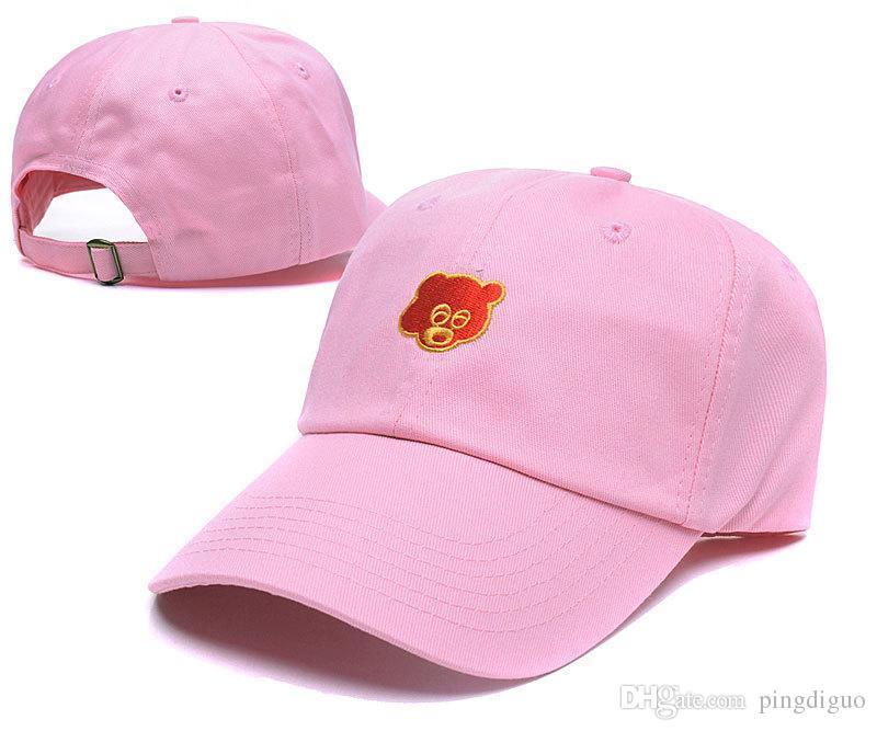 0a279c6bdf8d2 Black Pink Tan Kanye West Graduation College Dropout Bear Dad Hat ...