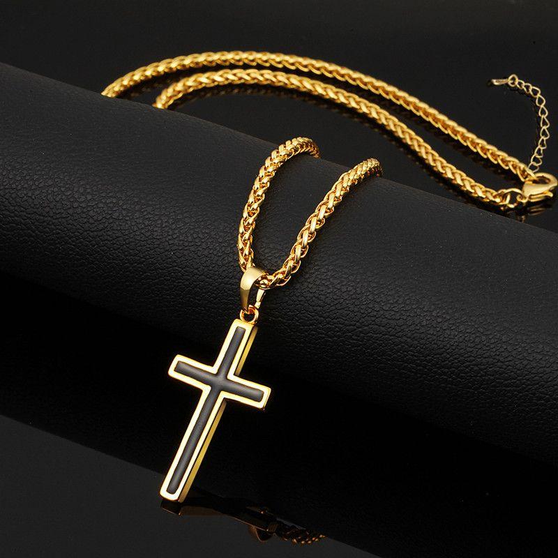 Nouvelle Mode À La Mode 18 K Or Jaune Plaqué 925 Argent Plaqué Christian Croix Pendentifs Colliers pour Hommes Femmes Beau Cadeau JNL1028
