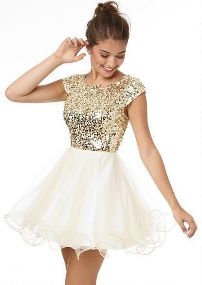 2019 8 ° grado Prom Abiti Homecoming sotto 100 A Line bianco e oro paillettes breve party dress ragazze brevi abiti da ballo custom made