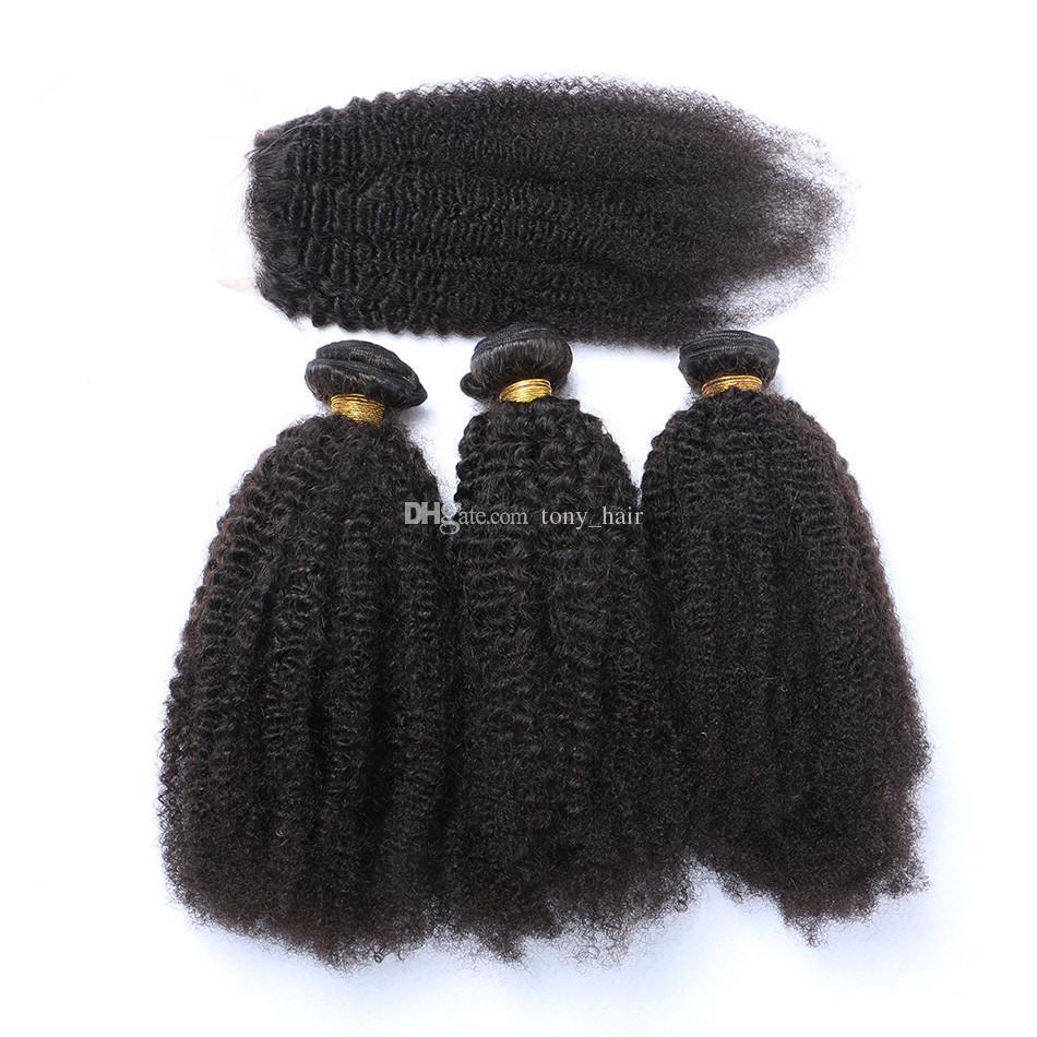 Vierge Brésilienne Afro Crépus Bouclés Armure De Cheveux Avec 4 * 4 Dentelle Fermeture 3 Partition Afro Bouclés Vierges Cheveux Avec Dentelle Fermeture /