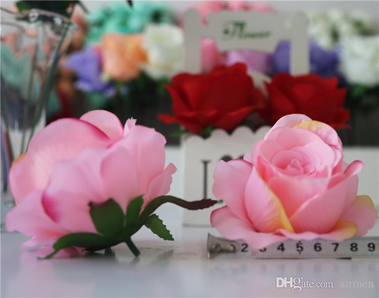 Sıcak ! 100 Adet Yapay Çiçekler 8 Renk Güller Çiçek Baş Düğün Dekorasyon Çiçekler 7 cm Ücretsiz ePacket
