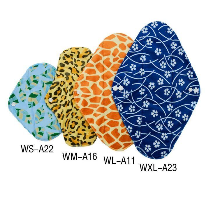4 couleurs charbon de bois en bambou hygiénique menstruel sanitaire maternité tampons, réutilisable lavable, S M L XL
