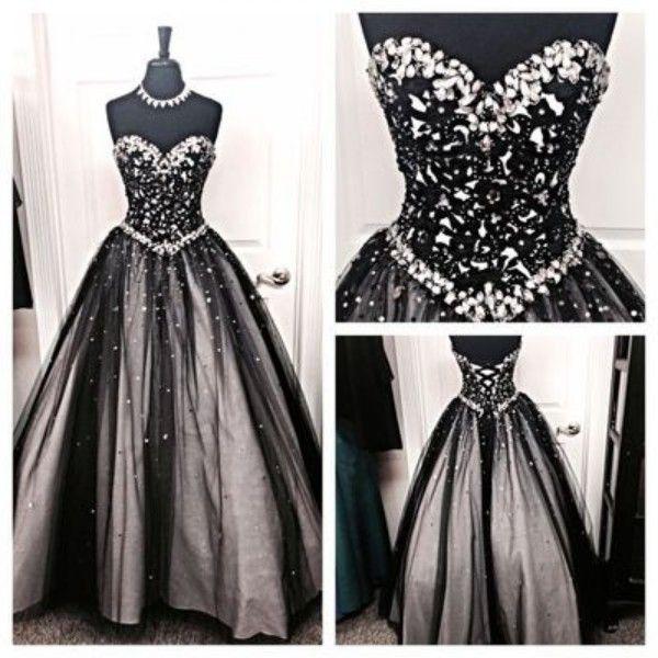 빈티지 흑백 고딕 웨딩 드레스 라인 크리스탈 연인 목 긴 바닥 길이 신부 가운 코르셋 위로 최고 품질
