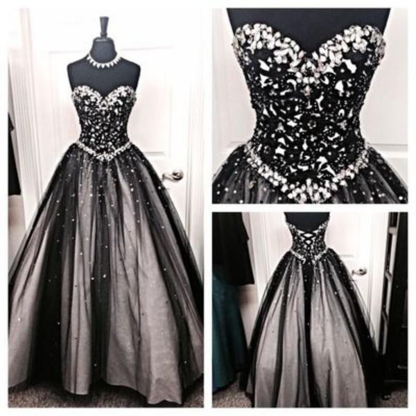 Vintage preto e branco gótico vestidos de noiva uma linha de cristais querida pescoço longo até o chão vestidos de noiva espartilho de volta qualidade superior