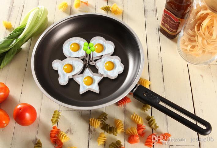 En acier inoxydable fleur étoile coeur en forme de cercle oeuf frit périphérique anneaux cercle omelette pancake épais sucre artisanat moule de cuisson cuisson outil