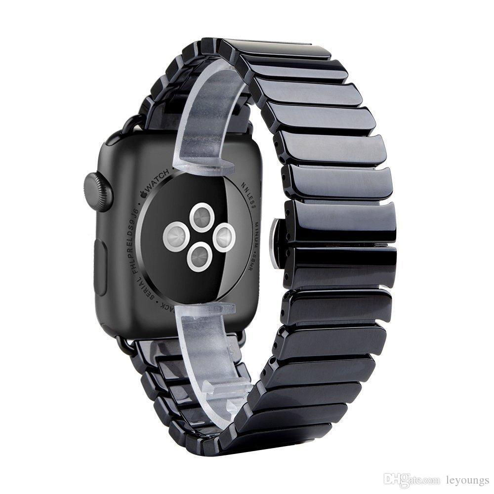 Exclusiva correa de reloj de cerámica de lujo para Apple Seguir 42mm 38mm Banda de la mariposa de cerámica pulsera de la correa lisa de la correa IWATCH 3 Serie 2 1
