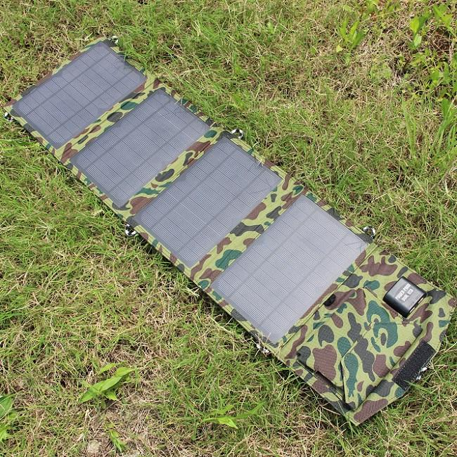 New 2016 Solar Charger+14W Mono Fodable Solar Panel+Dual USB Output+Waterproof Solar Rechargeable Folding Bag