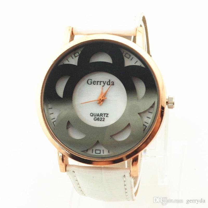 !PVC leather band,gold case,black flower imprint under glass,quartz movement,gerryda fashion woman lady quartz leather watch622