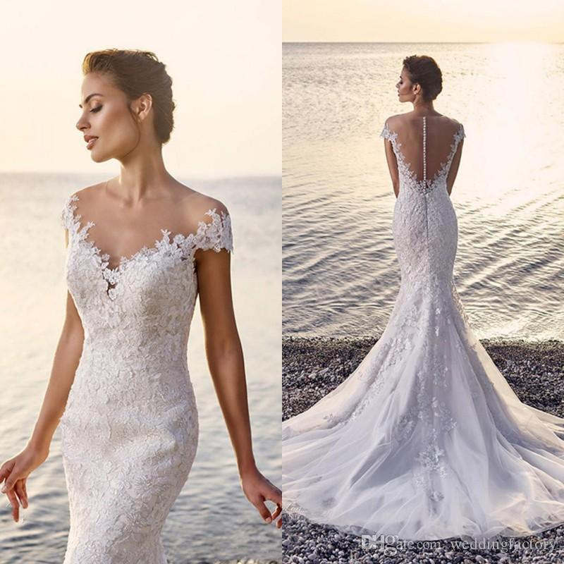 3ede11b66098 Beach Lace Mermaid Wedding Dress 2017 Sexy Fit And Flare See Through Back  Appliques Tulle Bridal Gowns With Sheer Shoulder Cap Sleeve Button Wedding  Dress ...