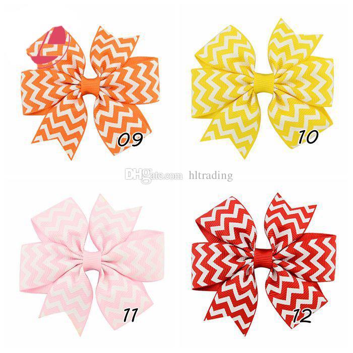 Baby Girls stripe hairpins children V ribs Barrettes kids hair accessories Bow Wavy pattern Hair clips C2684