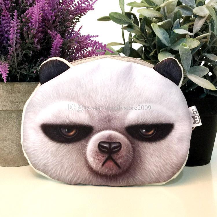 Mignon 3D Imprimer Panda Gris Lapins ROWN BEAR Porte-monnaie Animaux Tête Visage Forme Forme Porte-monnaie Change Sacs À Main Sac À Main Pour Enfants