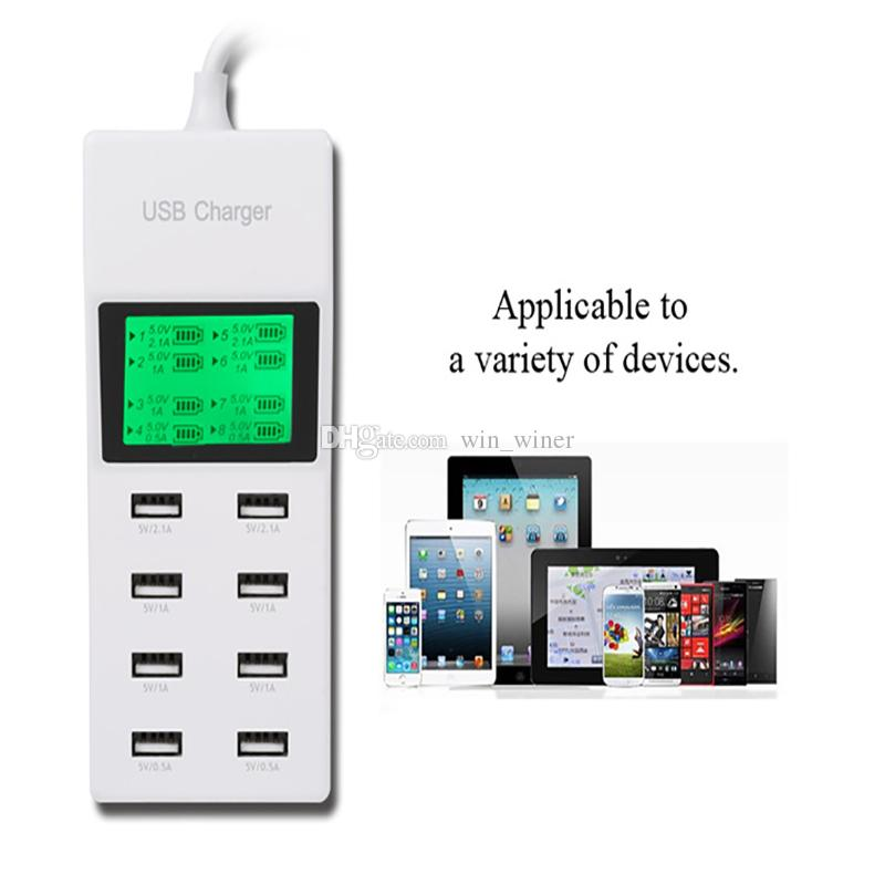 2015 new 8Port Portable SMART USB Hub Wall Charger AC Power Adapter EU Plug Slots Charging Extension Socket Outlet With Switcher