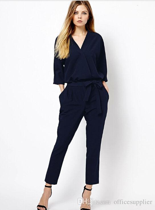 76984095b219 2019 Hot Sale Women V Neck Jumpsuit Full Length Jumpsuit Show Half Sleeve  XL Size Loose Women Romper Blue Black Plus Size Rompers From  Officesupplier