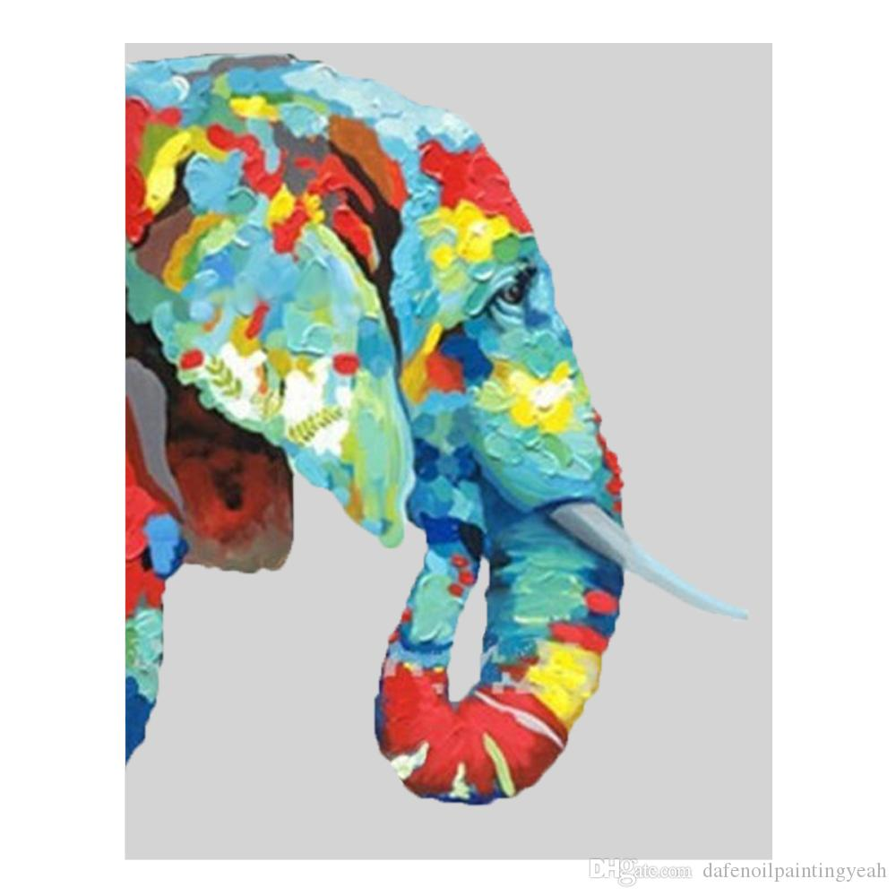 Hand painted Wall Art Home Decor Living Room Wall Pictures Beautiful Color Elephant Oil Painting Modern Animal Paintings 1Peices No Framed