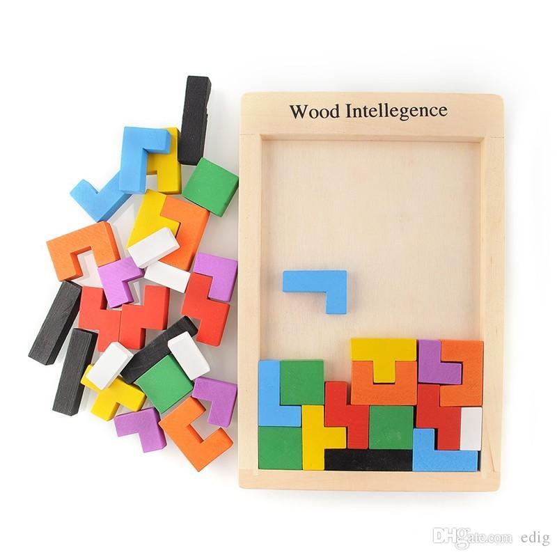 Wood Intellegence Russian Block Colorful Tangram Puzzle Tetris Game Educational Developmental Baby Toy