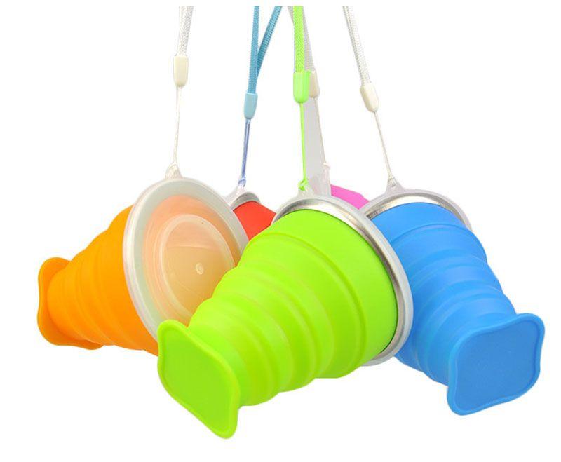 Силиконовые путешествия Питьевой стаканчики с крышкой из нержавеющей стали рта FDA Открытый кемпинг бутылка воды складных кружек разборных цветные конфет