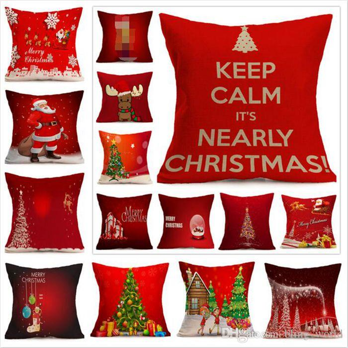 christmas pillow case xmas linen pillow cover reindeer elk throw pillow cushion covers tree decorative pillows covers 15 designs yw116 size of standard - Christmas Decorative Pillows