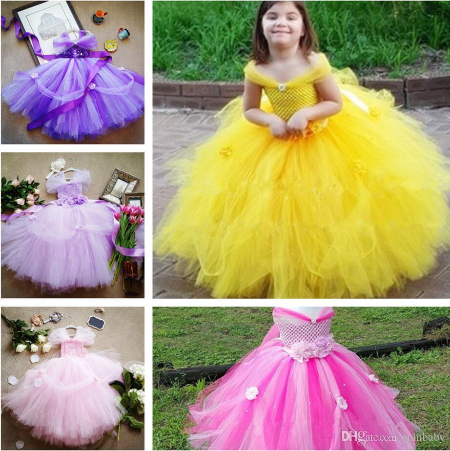 319d4188f98 New Princess Tutu Dress Baby Kids Fancy Party Christmas Halloween Costumes  Beauty Beast Cosplay Dress Flowers Girls Ball Gown Formal Dress Chiffon  Dress ...