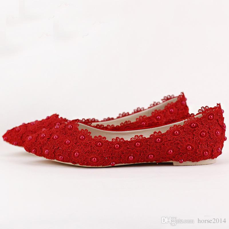 Flache Absätze Perle und Spitze Blume Brautschuhe Spitz Hochzeit Party Tanzen Schuhe Schöne Brautjungfer Schuhe Frauen Wohnungen