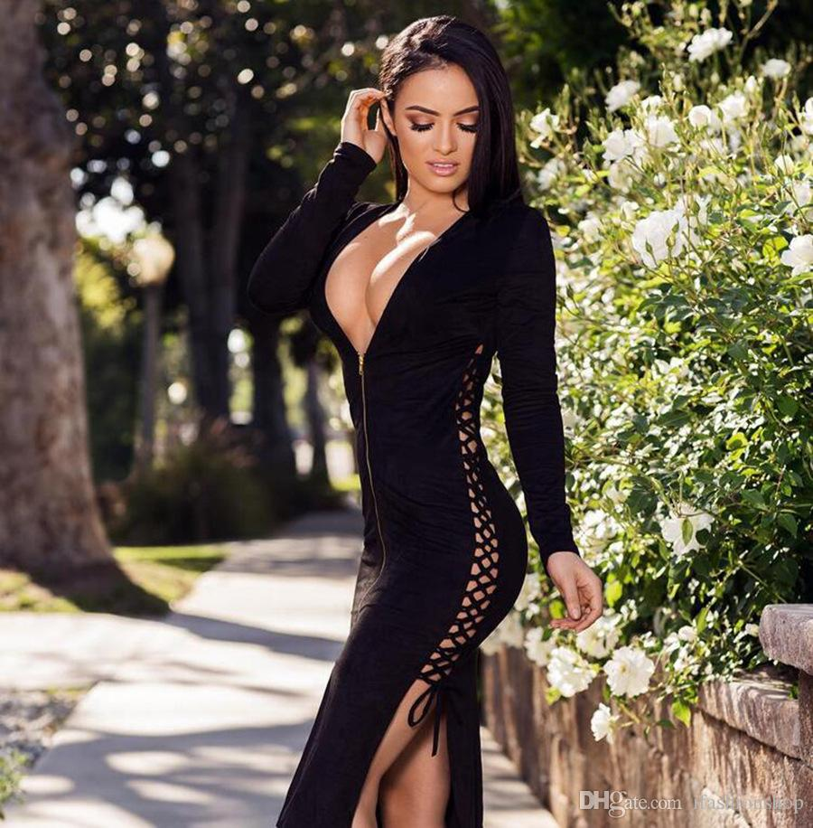 ceba3a9df8 Lace Up Plunging Neckline Black Dress Hot Sale Casual Dress Lace Up  Plunging Neckline Black Dress Online with  37.51 Piece on Ifashionshop s  Store