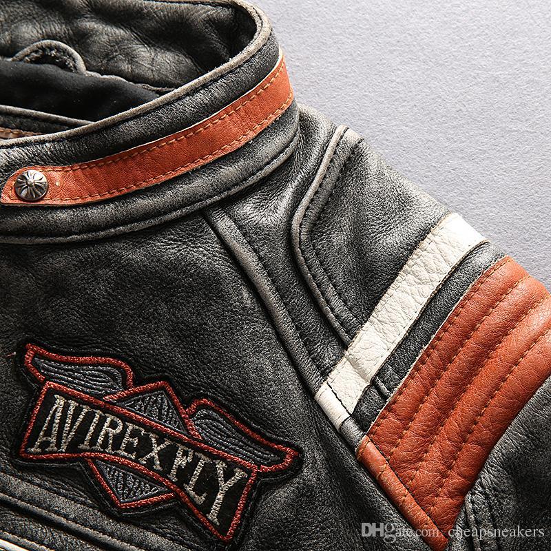 AMERICAN MOTOR JACKET AVREXFLY Harley-moto Chaquetas de cuero Harley con abrigos de cuero de ganuine de cuero de grado superior de grado