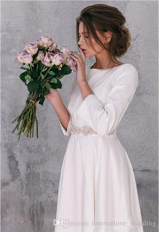 Abiti da sposa maniche lunghe A-Line Satin Tea Length con perline di perle Sash Abiti da sposa 2018 Vintage Country Vestidos de Novia