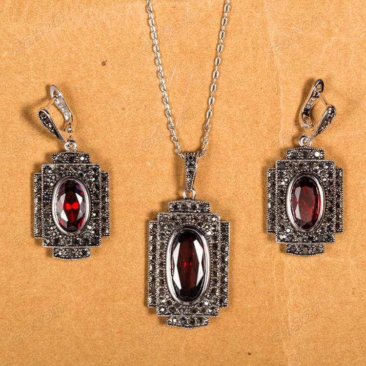 Cason New Arrival Red Zircon Pendant Necklaces and Earrings Sets Thai Silver Marcasite Jewelry Sets XS112